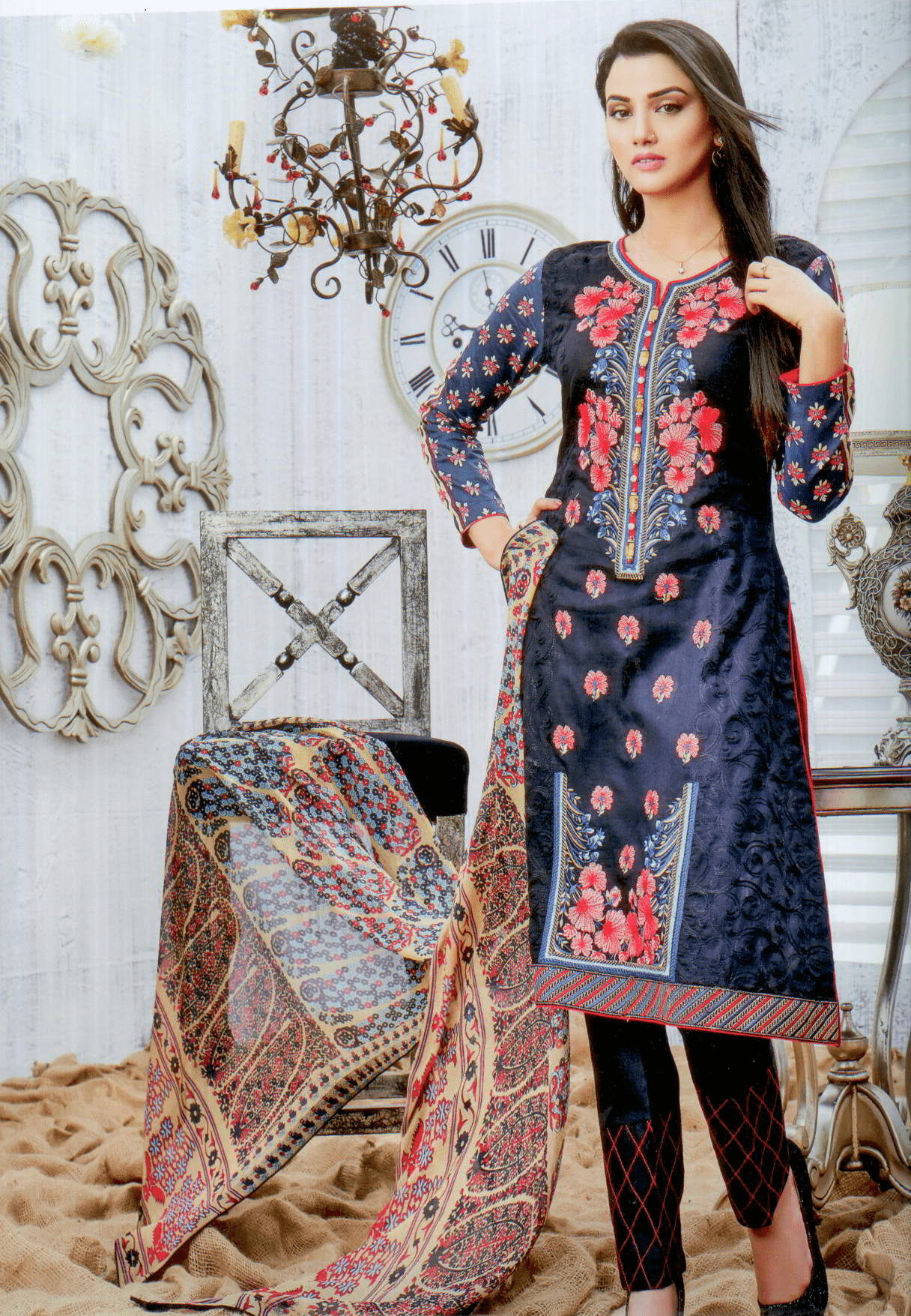 Aliza wardrobe summer 17-Vol 1- Three piece chiffon suit-3736