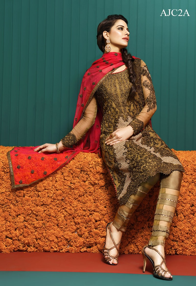 Designer Wear Full  Embroidered 3 Piece Chiffon Su
