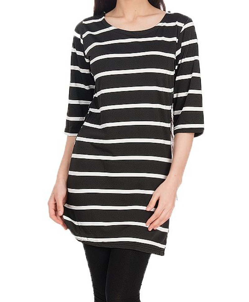 Body Focus Fashion Black & White Cotton Stripes Top for Women