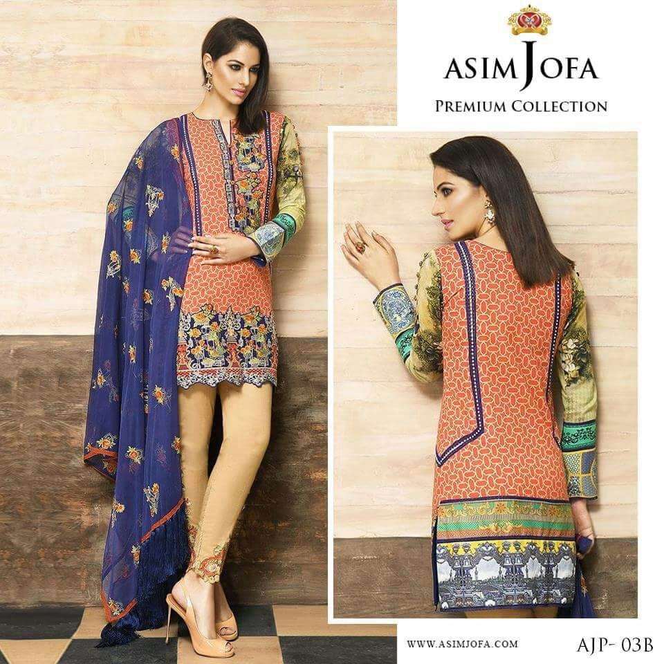 Asim Jofa Embroidered Lawn Suit with Chiffon Duppa