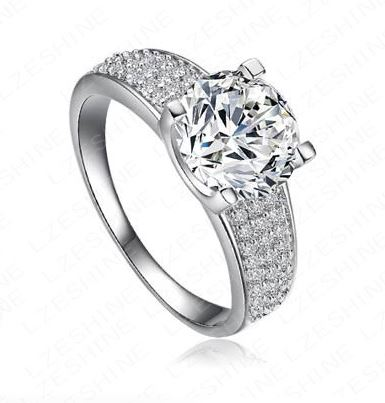 18KGP Platinum Plated Swiss Cubic Zircon Ring