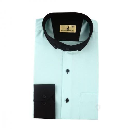 Fashion Inn Attitude Mens Casual Shirt Sea Foam Green With Black Color