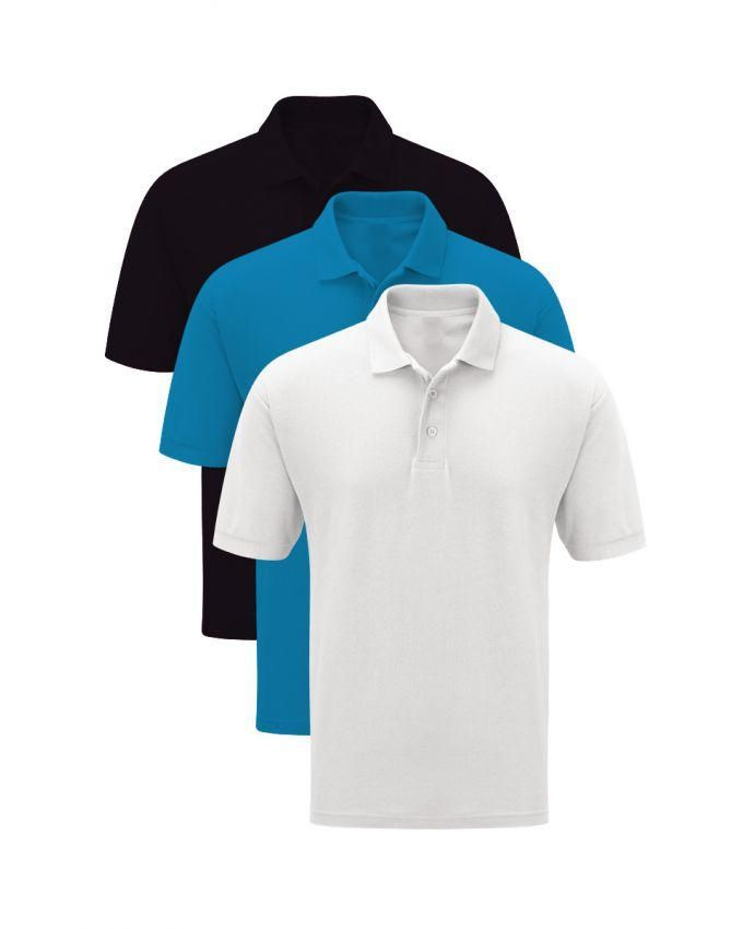 Menz Corner Pack of Black, White & Ferozi Plain Polo T-shirt
