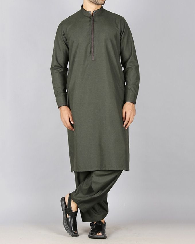 Junaid Jamshed Dark Green Polyester Viscose Men's