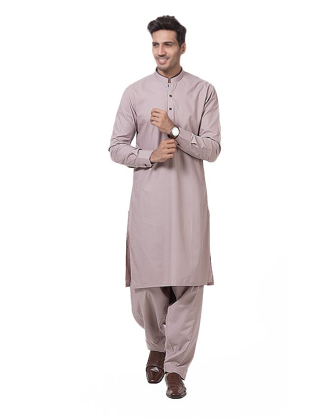 Shahzeb Saeed Light Brown Cotton Shalwar Kam For M