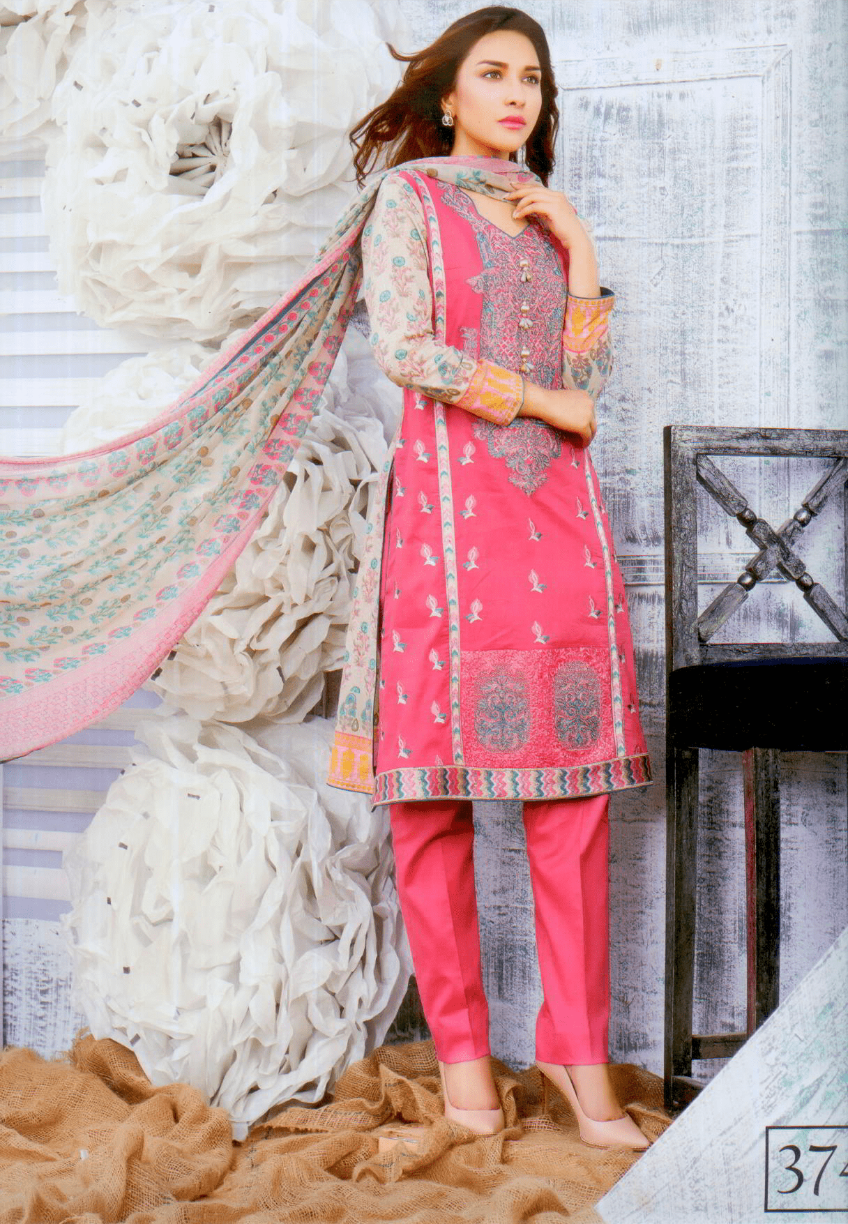 Aliza wardrobe summer 17-Vol 1- Three piece chiffon suit-3741