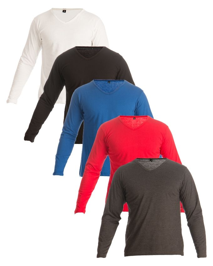 Mardaz Pack of 5 - Multicolor Cotton T-Shirts For Men