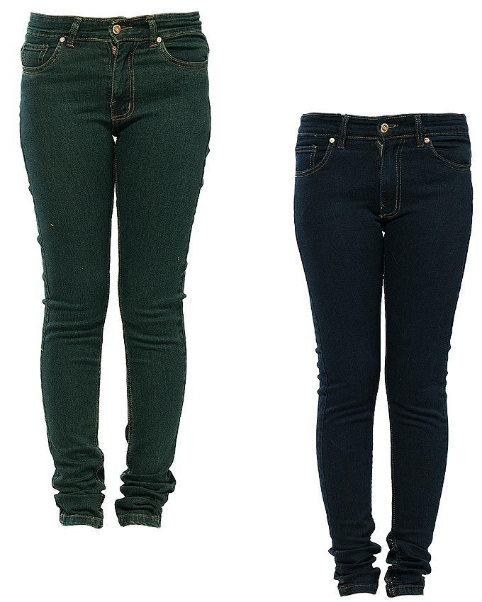 Pack of 2 - Blue & Green Cotton Jeans for Women