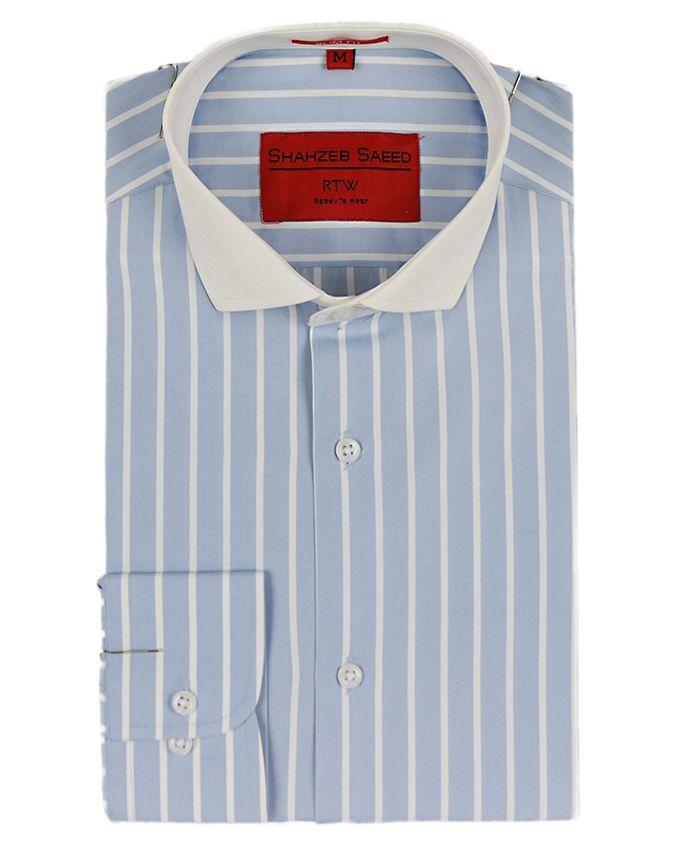 Shahzeb Saeed Blue & White Cotton Striped Shirt Fo