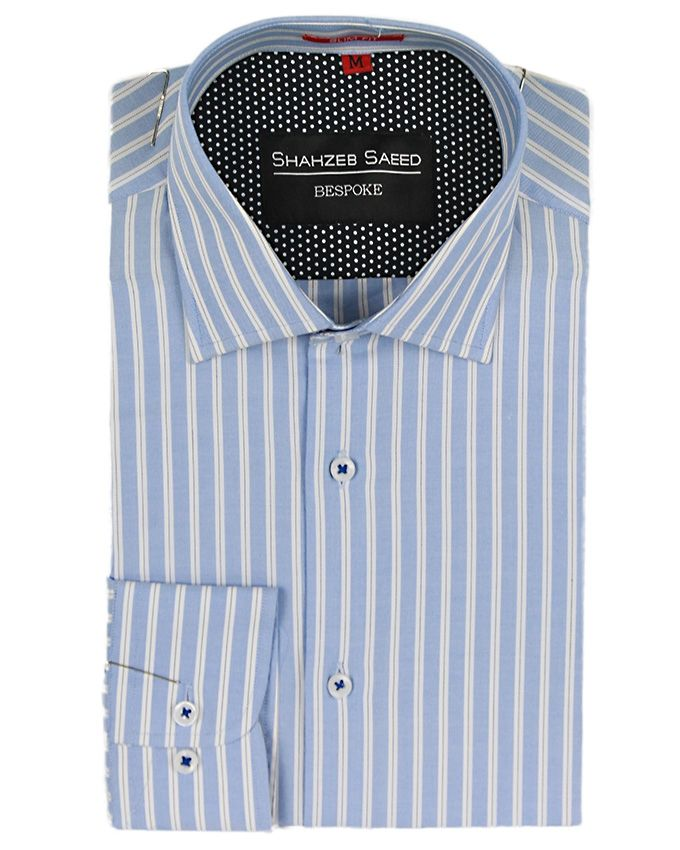 Shahzeb Saeed Blue & White Cotton Striped Shirt Fo