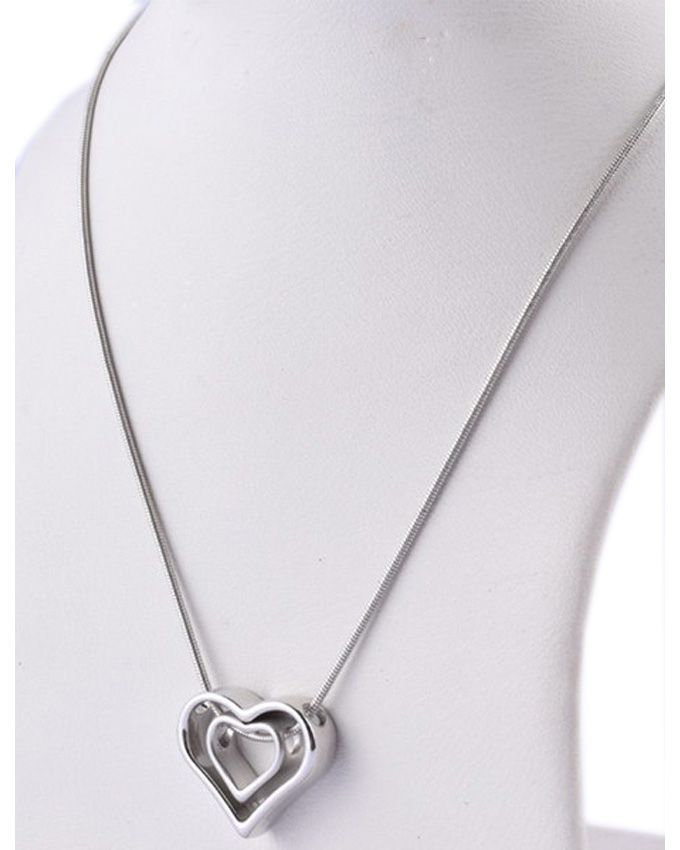 SOZ Silver Stainless Steel Double Heart Locket For Women