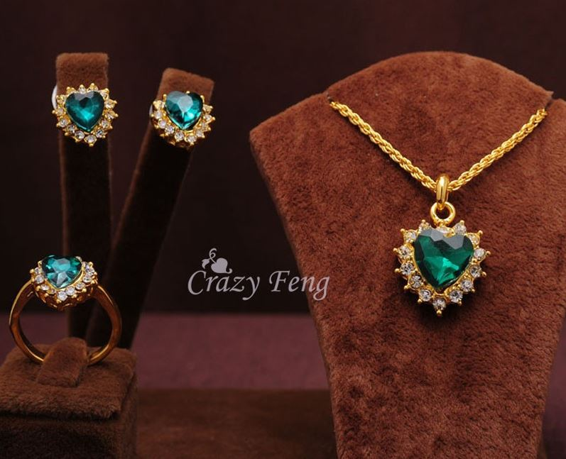 Gold Filled Sapphire Necklace With Earrings & Ring
