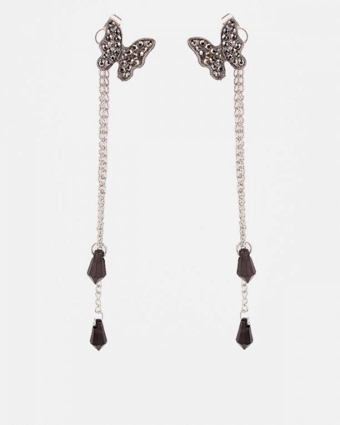 Metal Butterfly Hanging Earrings - Er110