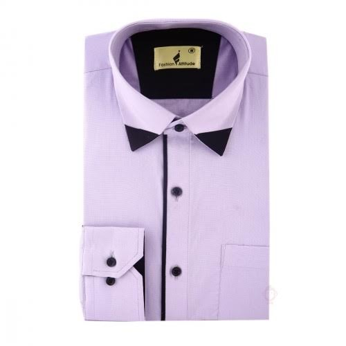 Fashion Inn Attitude Mens Casual Shirt Light purple With Black Pipine