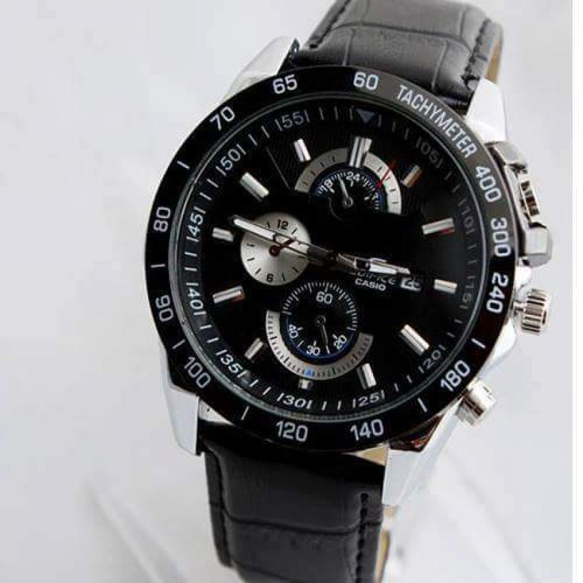 Casio Edifice Black Leather Strap Watch for Men