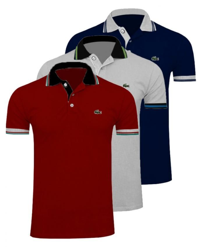 Pack Of 3 Multicolour Polyester & Cotton Polo Shir