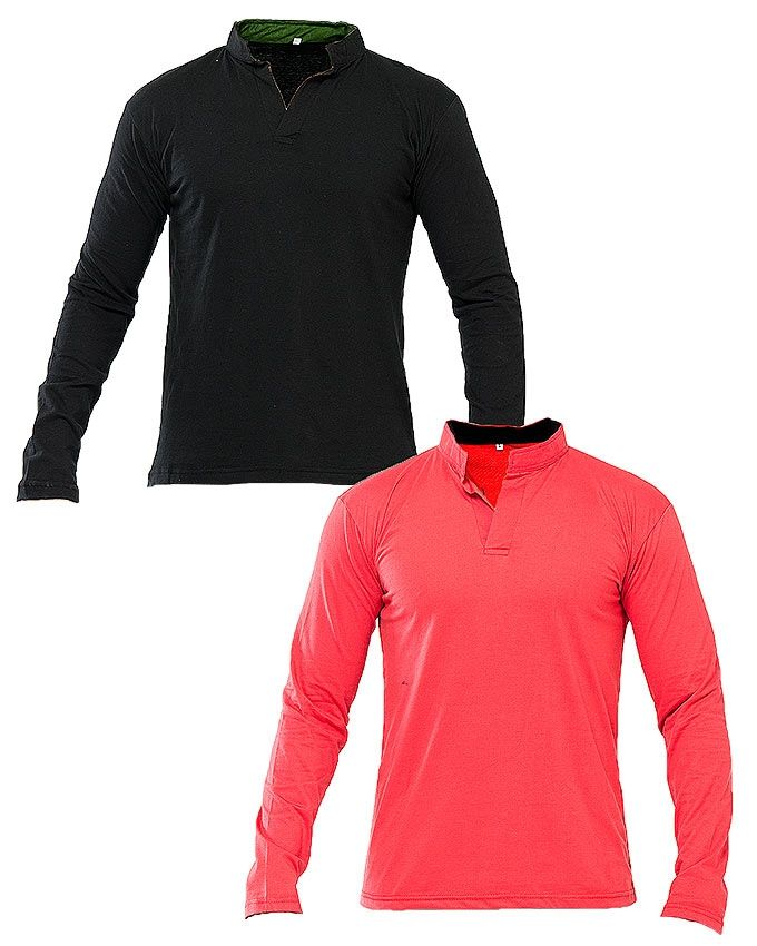 Pack Of 2 - Black & Red Cotton Jersey T-Shirt