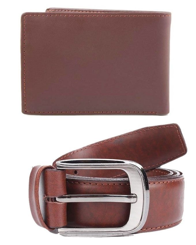Mag Store Pack of 2 - Brown Leather Belt & Wallet for Men