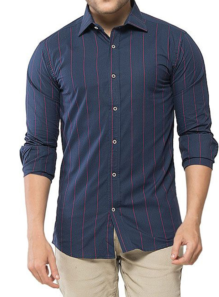 Aclipse Navy Blue Cotton Striped Shirt for Men