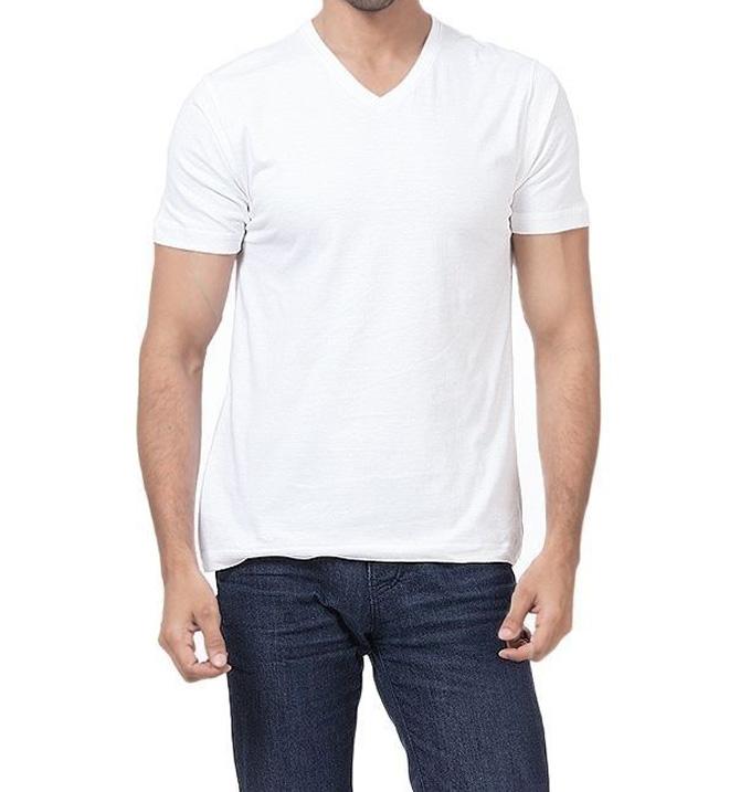 All Wear White Cotton V-Neck Half Sleeves T-Shirt For Men