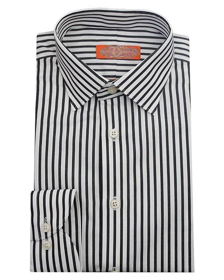 Cotton & Cotton Black Striped Cotton Slim Fit Formal Shirt for Men