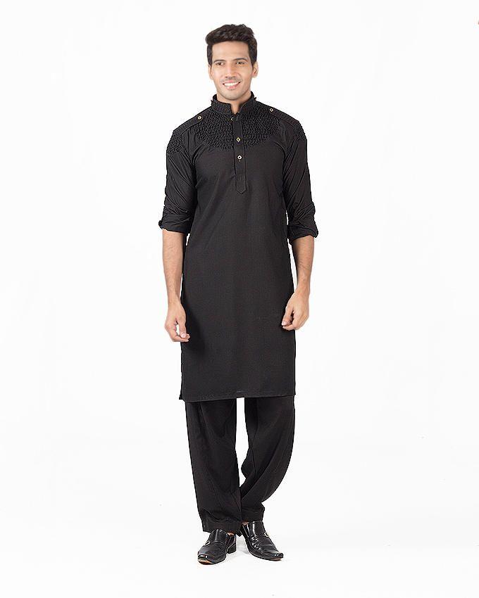 ALHamra Black Wash & Wear Designer Shalwar Kameez