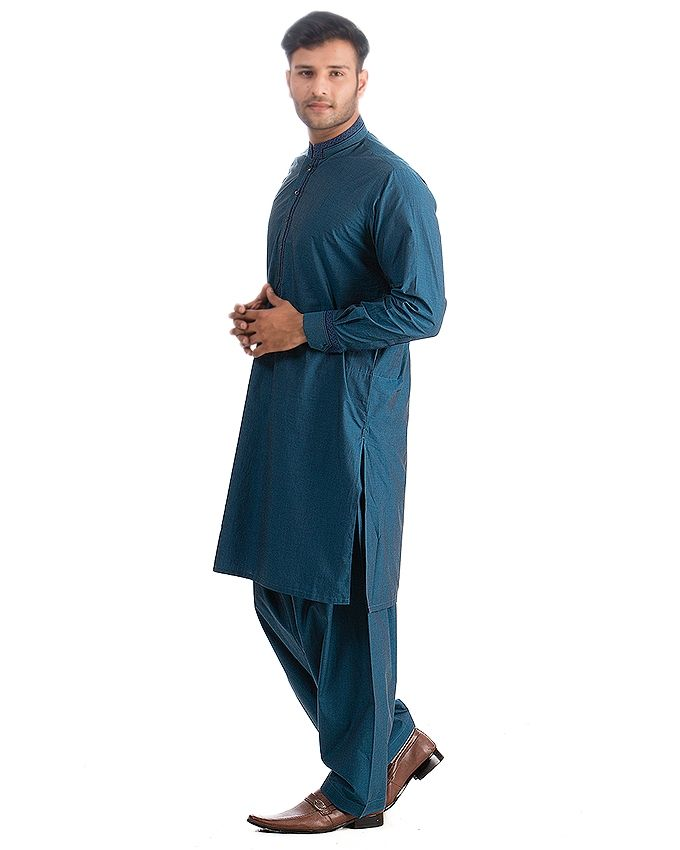 Gul Ahmed Royal Blue Mix Cotton Shalwar Kameez Sui