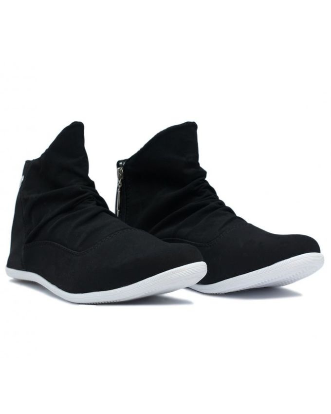 Black Zipper Cotton Shoes For Men