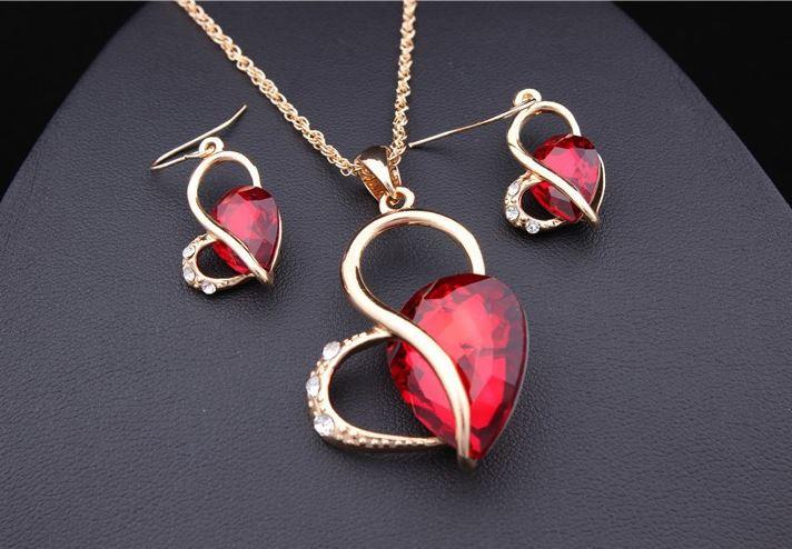 Gold Rhinestone Heart Drop Necklace & Earrings