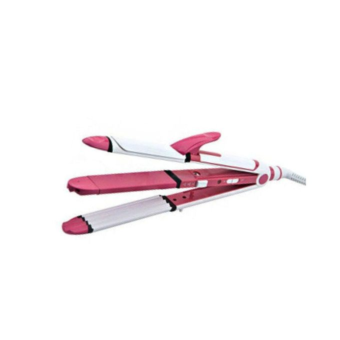 Kemei KM-1291 - Professional Hair Straightener, Curler & Crimper Iron - White & Pink