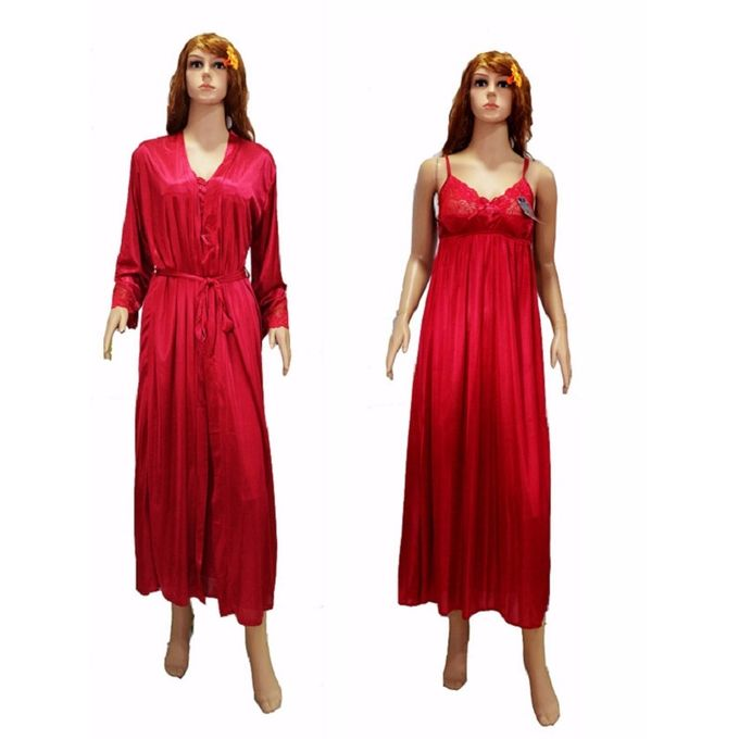 2Pc Long Robe Silky Gown Set
