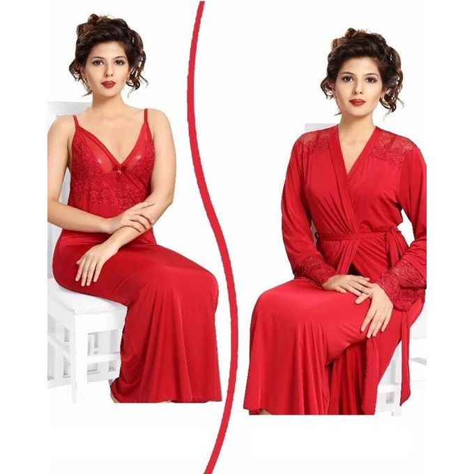 Flourish Red Nighty - Fl-0074 - Flourish 2 Piece Nightwear - Bewpar.pk d0a0a8121