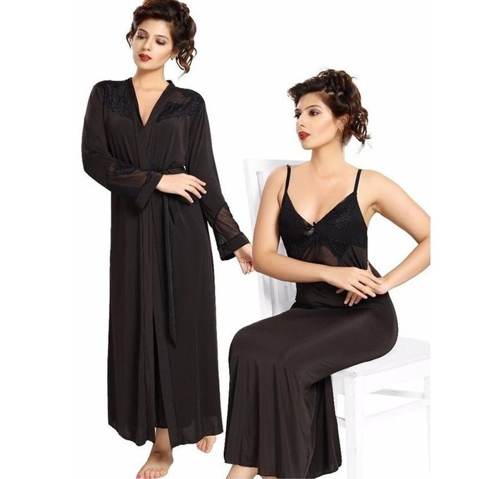 Flourish Black Nighty - Fl-0071 - Flourish 2 Piece Nightwear