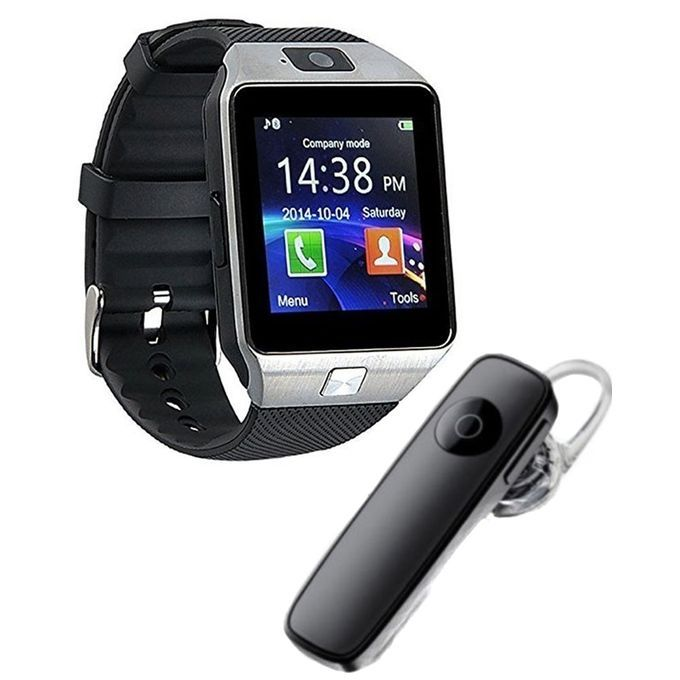 DZ09 - GSM Smart Mobile Watch With Bluetooth Head set - Black