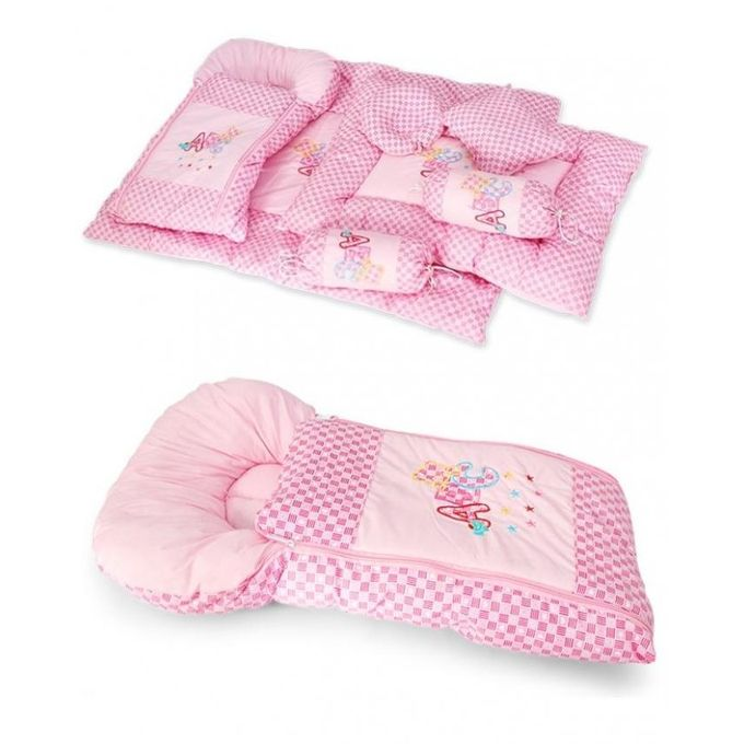 Folding Infant Sleeping Bed with 2 Pillows - Pink