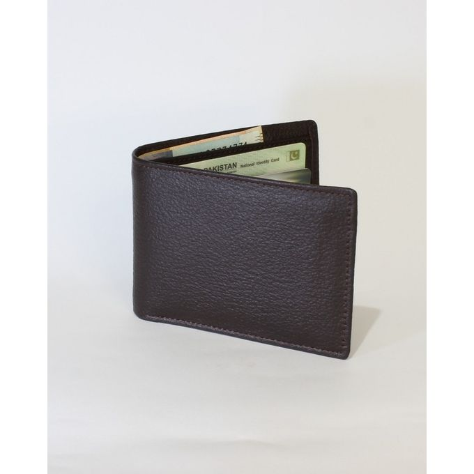 Brown Leather Tri-fold Wallet for Men