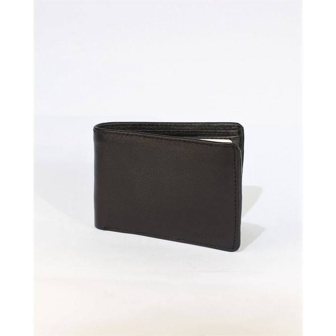 Midnight Black Leather Tri-fold Wallet for Men