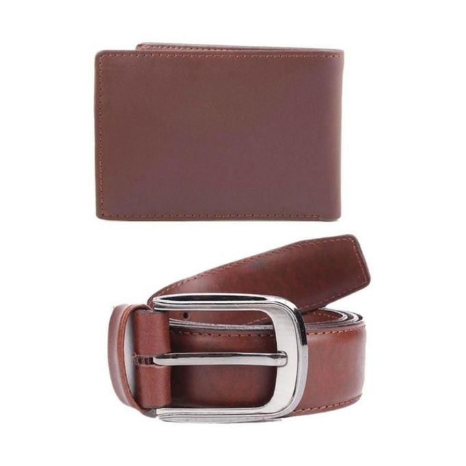 Pack of 2 Brown Leather Wallet & Belt for Men
