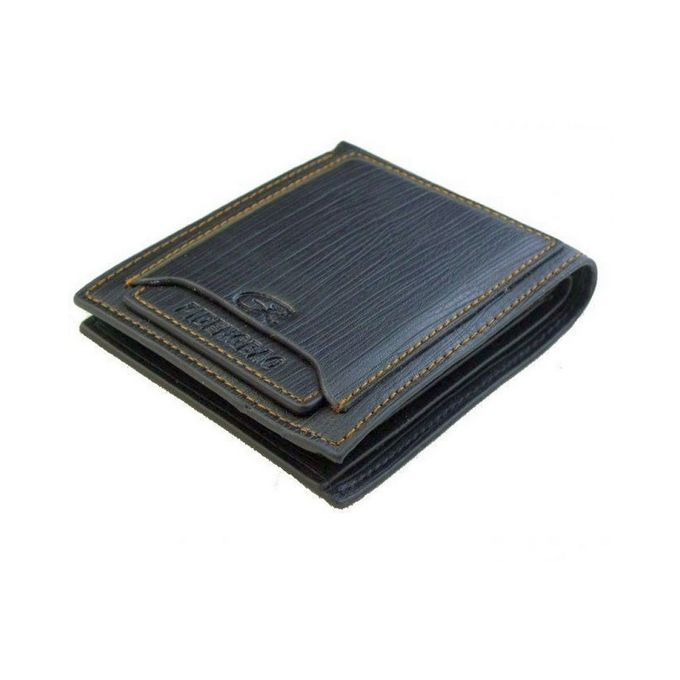 Black Leather Bifold Slim Wallet For Men