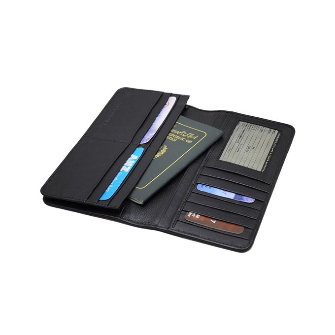 One Hundred Ten Leather Travel Wallet - Black