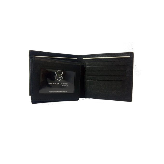 Black Textured Leather Wallet for Men W-899