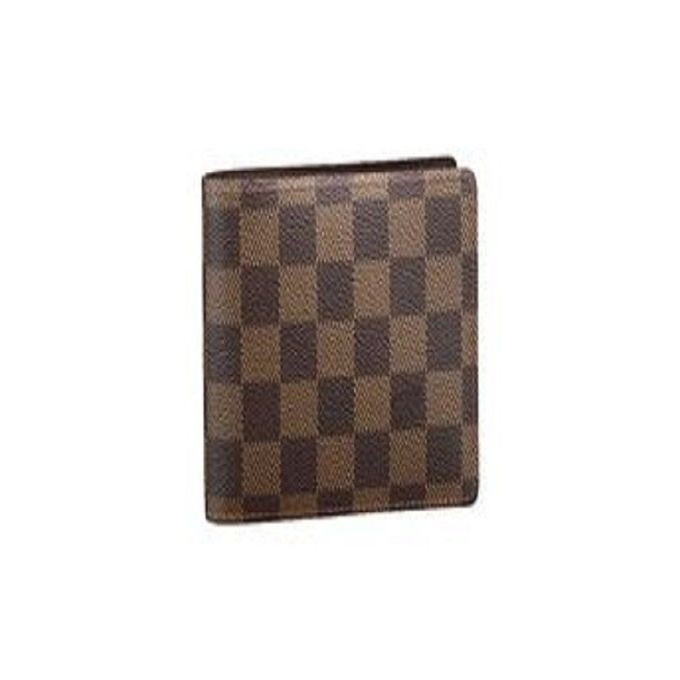 Brown Leather Checked Wallet For Men