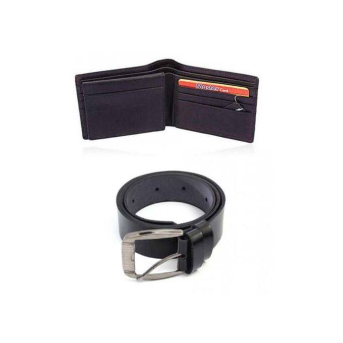 Pack of 2 - Black Leather Wallet & Belt For Men - EP_1395
