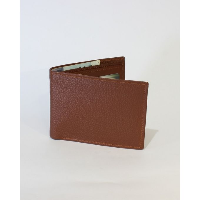 Topaz Brown Leather Tri-fold Wallet for Men