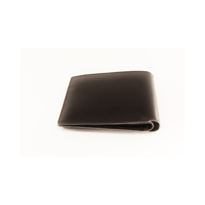 actral-men-s-leather-bifold-passcase-wallet-2-in-1-card-case-100-pure-cow-leather-plain-dark-brown