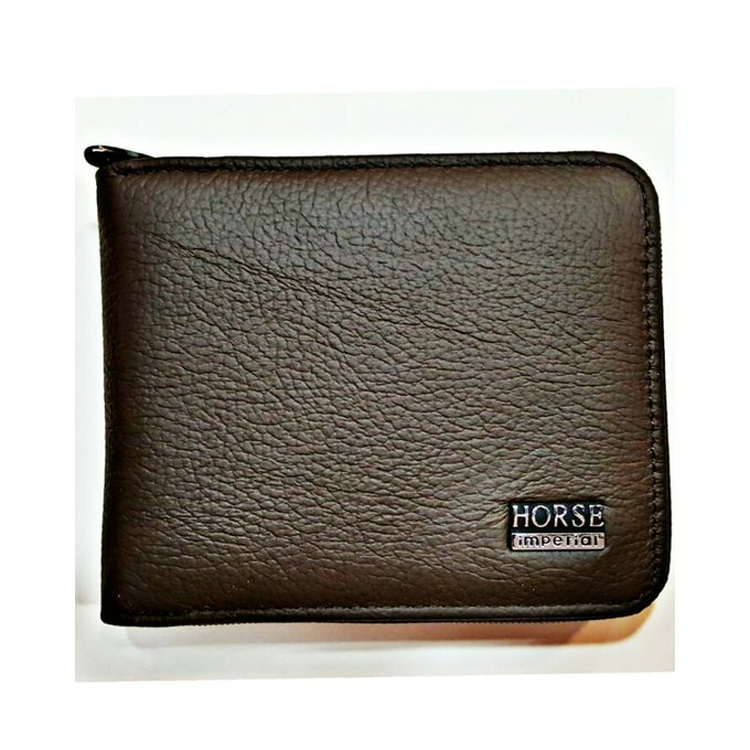 Imperial Horse Zipper Dark Brown Leather Wallet For Men