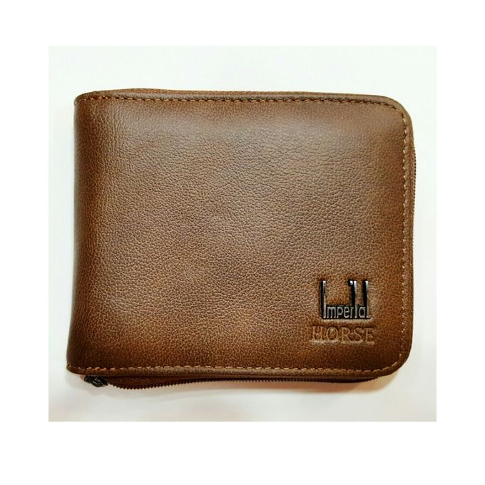Imperial Horse Zipper Brown Leather Wallet For Men