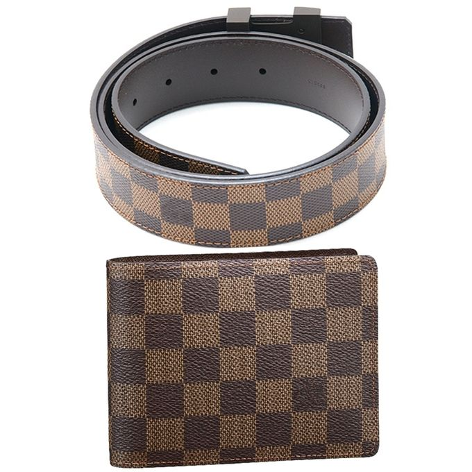 Brown Checked Wallet and Checked Belt for Men