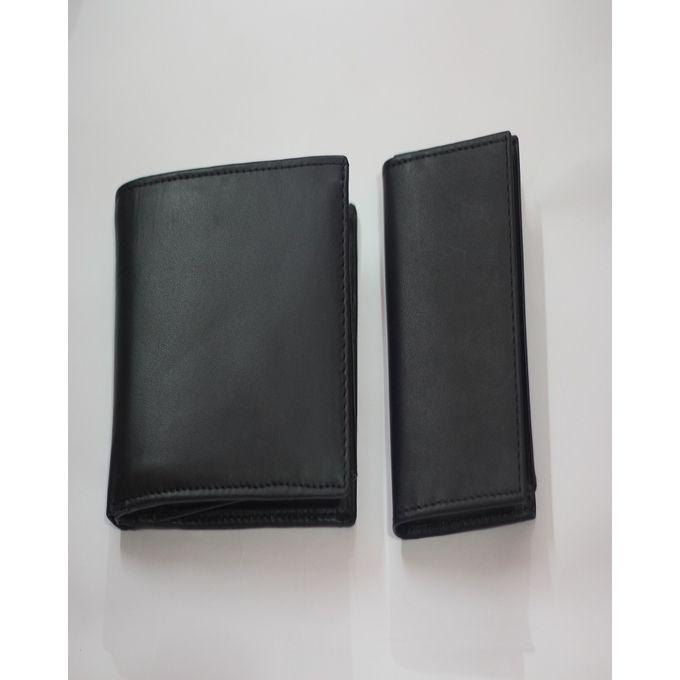 Set of 2 - Black Genuine Leather Wallet & Cardholder for Men