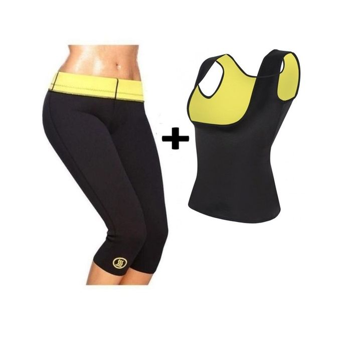 Hot Shapers Pack of 2 - Slimming Pant & Cami Hot Vest - Black & Yellow